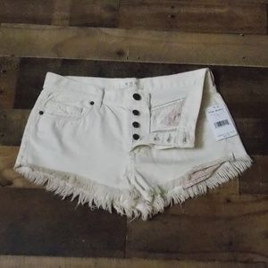 NWT We The Free Button-fly white jean shorts 27